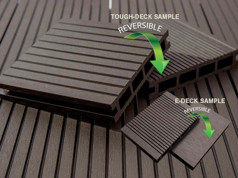 Wpc composite decking boards in grey black teak chocolate for Wpc decking