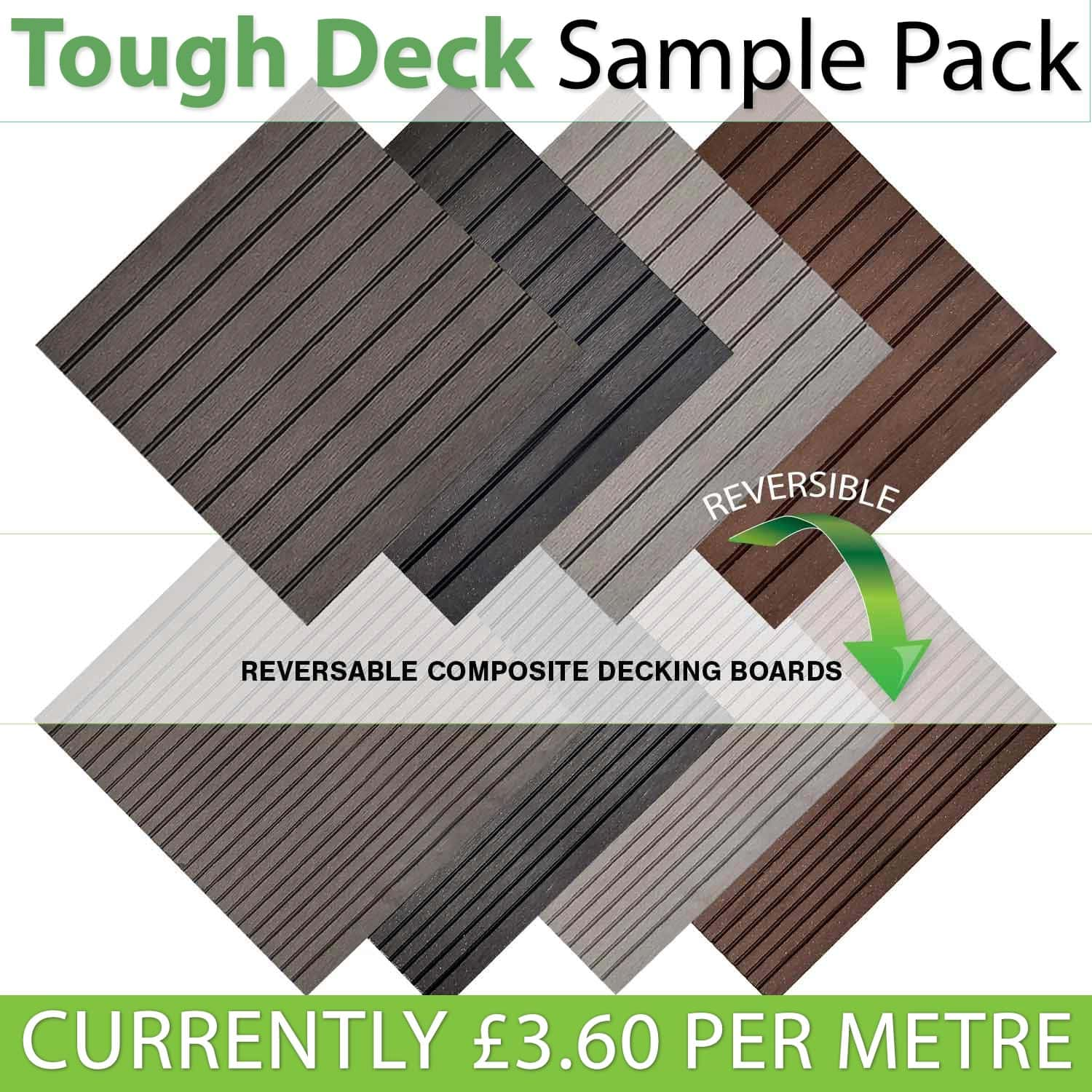 Composite decking samples pack black grey and teak for Best composite decking material reviews
