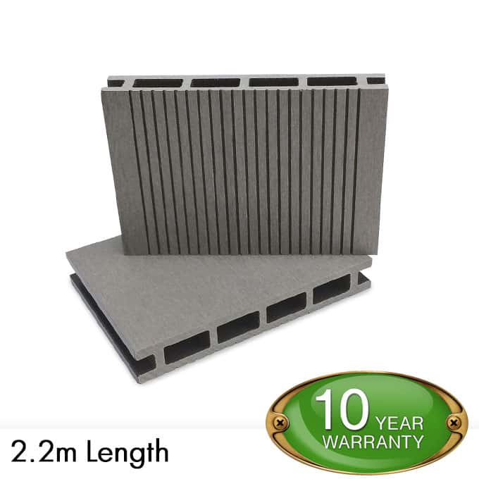 Grey composite decking e deck boards per linear meter for Decking boards 3 6 metres
