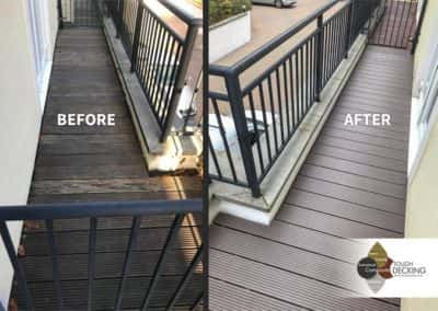 chocolate decking before and after