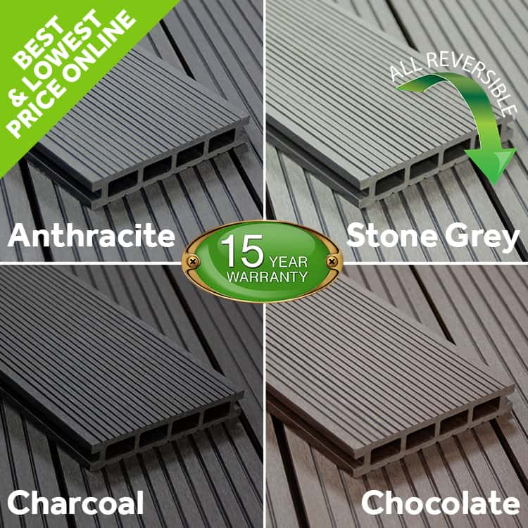 Details about WPC Composite Decking Boards Grey Black Anthracite Chocolate  10 Year Warranty!