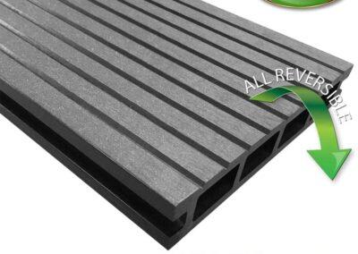 Tough Deck Woodsman+ - Anthracite Wood Grain Reversible WPC Decking Board