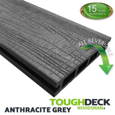 Tough Deck Woodsman+ - Anthracite Wood Grain Reversible WPC Decking Board