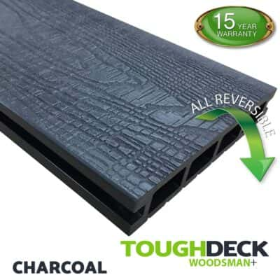 Tough Deck Woodsman+ - Charcoal Wood Grain Reversible WPC Decking Board