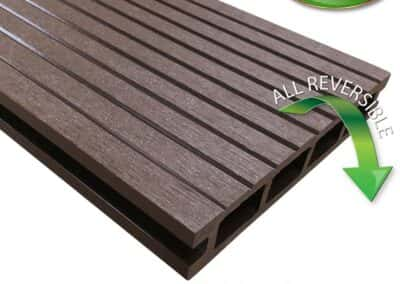 Tough Deck Woodsman+ - Chocolate Brown Wood Grain Reversible WPC Decking Board