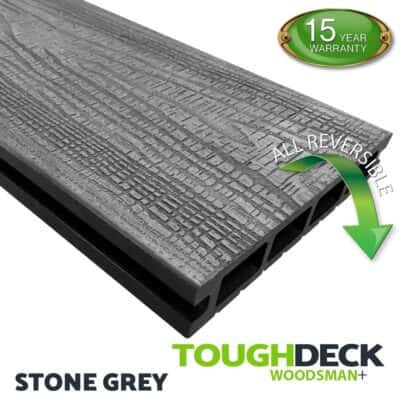 Tough Deck Woodsman+ - Stone Grey Wood Grain Reversible WPC Decking Board